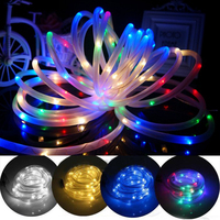 2016 New Top Quality 10M 100 LED Solar Rope Tube Led String Strip Fairy Light Outdoor