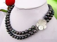 Free shipping hot sale Women Bridal Wedding Jewelry >>2 ROW SOUTH SEA AAA 9 10MM BLACK PEARL NECKLACE 18 19 INCH r