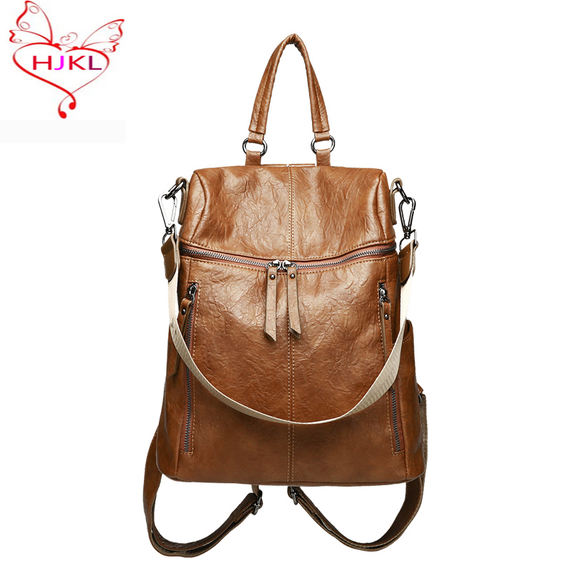 Hjkl Fashion Women Backpack New Students Schoolbag For Teenagers Girls Korean Style Shoulder Bags Lady Travel Bag Messenger