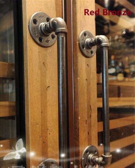 16/40CM Premintehdw American Rural Antique Door Handle Handles Pull Pulls Water Iron Pipe entrance door handle solid wood pull handles pa 377 l300mm for entry front wooden doors