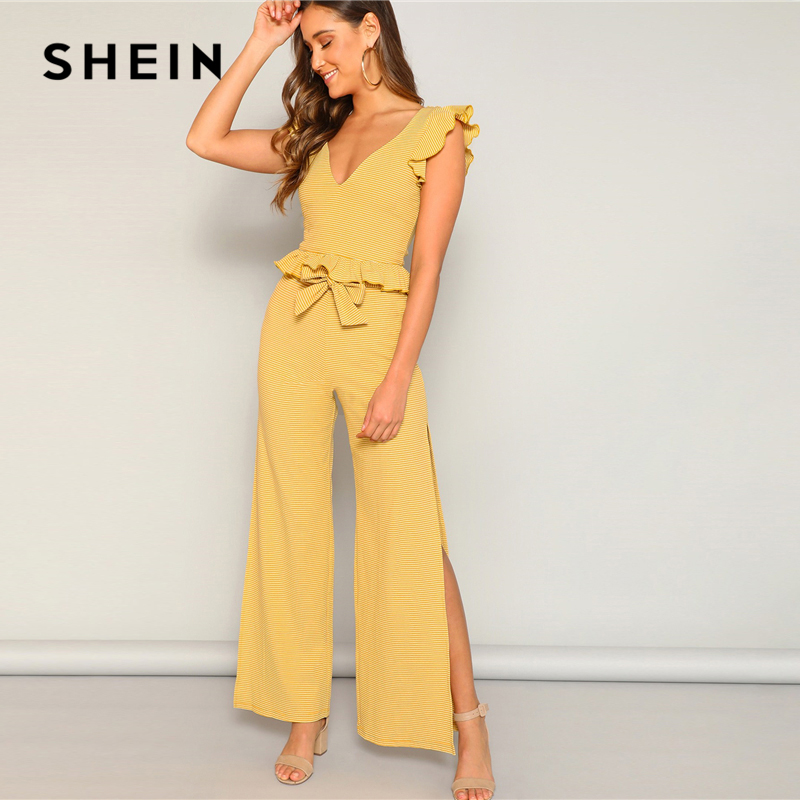 SHEIN Boho Yellow Two Piece Set 07190110908