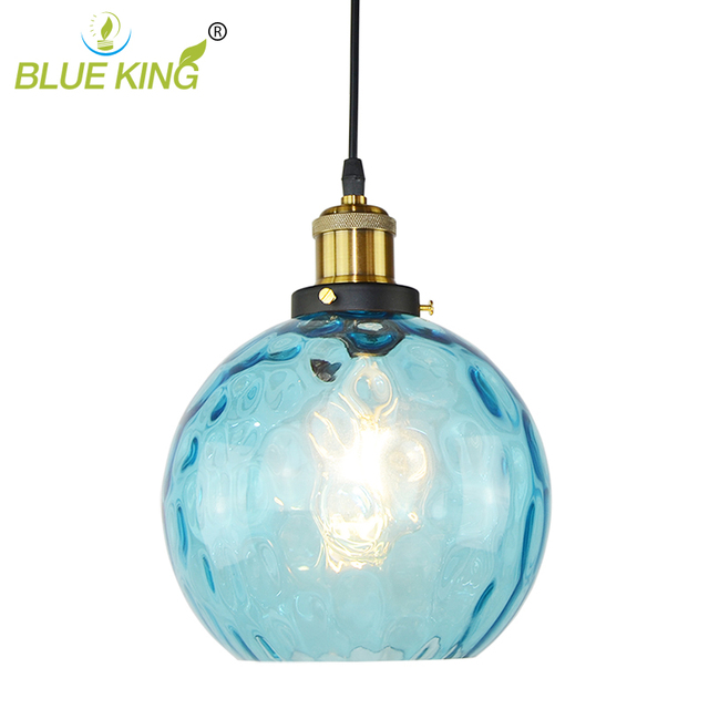 Brand New Sky Blue Water Wave Crystal Glass Pendant Lights Led - Blue kitchen light fixtures