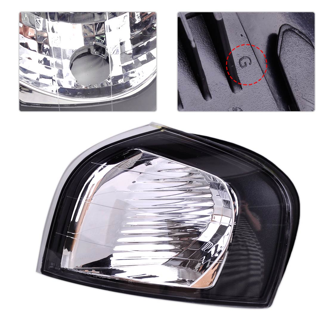 DWCX New Car Black Plastic Left Turn Signal Corner Light Lamp 30655422 fit for Volvo S80 1999 2000 2001 2002 2003 2004 2005 2006