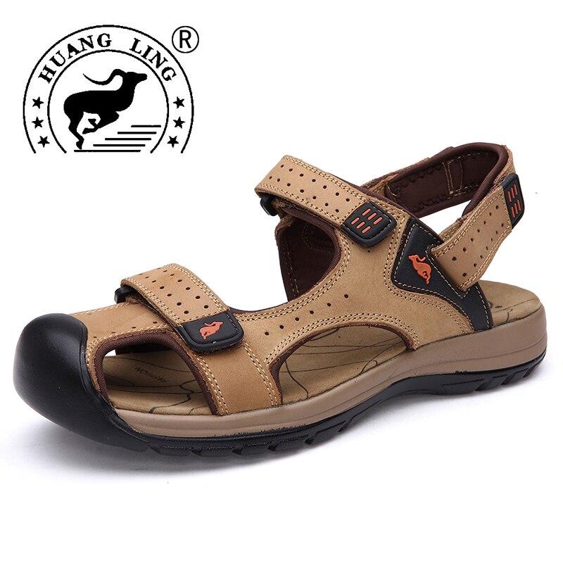 HUANGLING 2017 New Arrival Mens Sandal Real Hot Sale Genuine Leather Men Sandals Summer Shoes