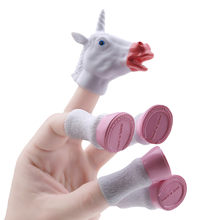 Random Color 2018 Newest Cartoon Unicorn Animal Finger Puppet Finger Toy Finger Doll Baby Educational Hand Toy Tell Story(China)