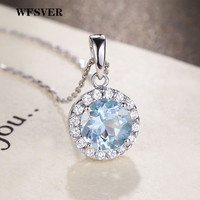 WFSVER Women 925 Sterling Silver Jewelry Necklace Korea Style Round Pendant With Blue Crystal Necklace Female Fashion Jewelry