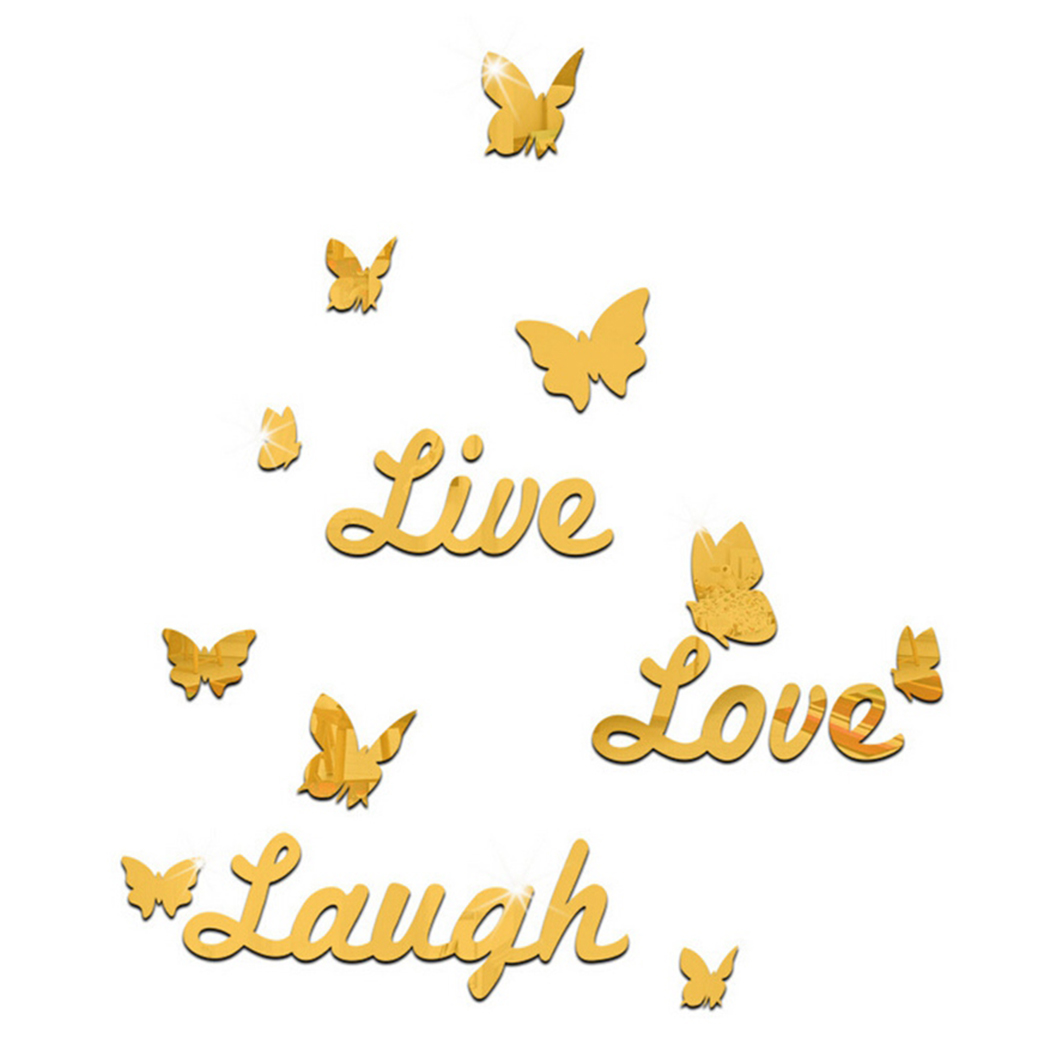 Live Love Laugh Butterfly Mirror 3D Wall Stickers Fashion Home Decoration Living Room Pattern DIY Furniture Kids ...
