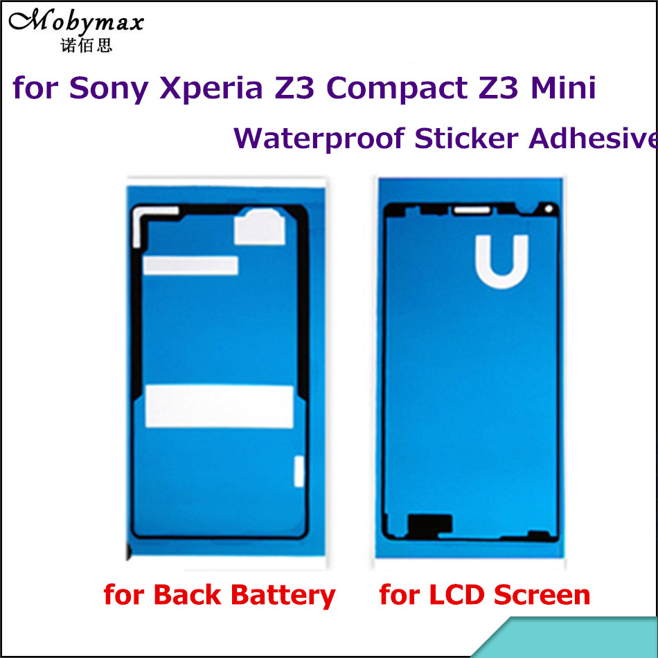 Waterproof Sticker for Sony Xperia Z3 Compact Mini D5803 D5833 Front LCD Frame+Back Battery Cover Adhesive Glue Tape Full Set
