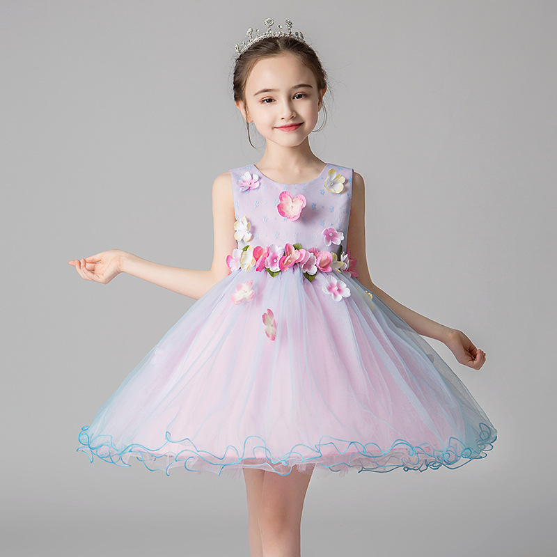 2019 Summer New   Girls   Short Tulle Gown   Flower     Girls     Dress   For Weddings Sweet Colorful Lace   Flower     Dress   Big   Girls   Mini Ball Gown