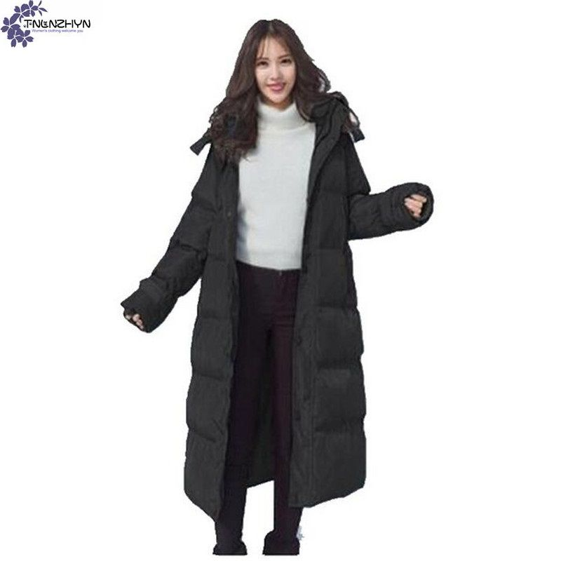 TNLNZHYN Corea 2017 Nueva Moda de Invierno Mujer chaquetas Media Larga Abajo Cub