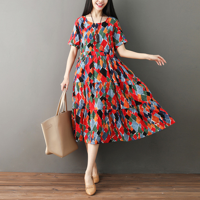 dbea927b8a9 ilstile 2018 Women Short Sleeve Floral Print O-Neck Long Dress Chic Cotton  Linen Casual Loose Dress Summer Vintage Kaftan M-XXL