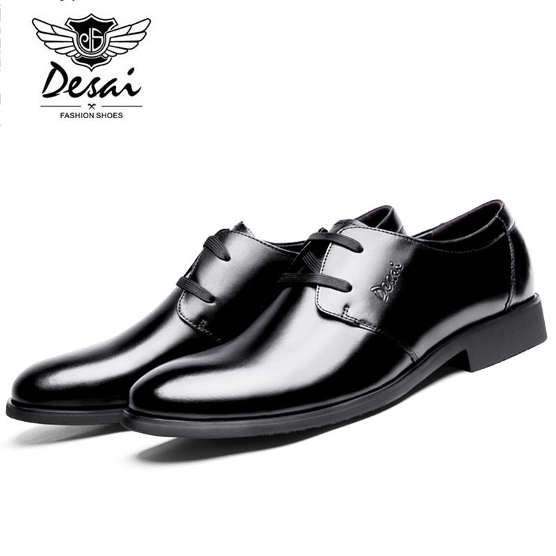 DESAI Genuine Leather Men Fashion Simple Soft Cow Leather Casual Shoes Men Loafers Lace Up Leisure Shoe DS0002-11 top brand high quality genuine leather casual men shoes cow suede comfortable loafers soft breathable shoes men flats warm