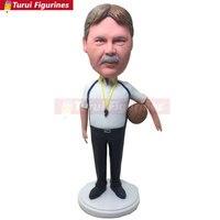 Basetkball Coach Bobble Head Caoch Clay Figurine Personalized Coach Gift Based on Customers Photo Coach Birthday Cake Topper Coa