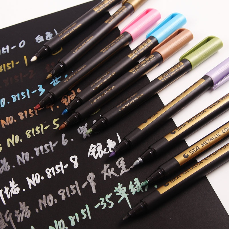 10 Colors Metallic Marker Permanent Drawing For Students DIY Glass Paint Painting Rocks Card Handmade Photo Album Birthday Gift