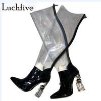 Необычные прозрачные сапоги выше колена на каблуке, женские прозрачные высокие сапоги из натуральной кожи с острым носком, зеленые сапоги н