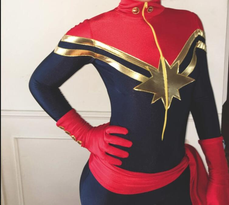 Women Ms.Captain Marvel Carol Danvers Superhero Costume Spandex Zentai Suit For Halloween Party Cosplay Costume