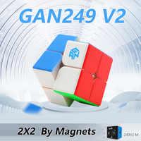 Gan 249 V2 M 249M Cube magnétique sans bâton Cube magique 2x2x2 vitesse Puzzle compétition jouet Cubo WCA championnat 2x2 par aimants