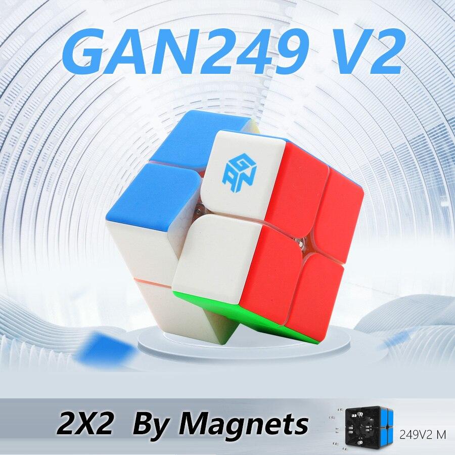 Gan 249 V2 M 249M Magnetic Cube Velocidade Enigma Cubo Mágico Stickerless 2x2x2 Competição Brinquedo cubo WCA Campeonato 2x2 Por Ímãs