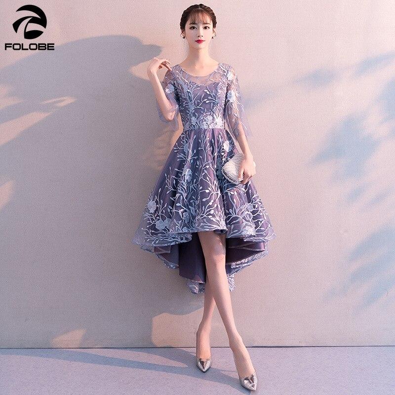 FOLOBE 2020 printemps élégant robe de soirée salut Lo bleu clair robes formelles demi manches broderie Banquet femmes robes vêtements