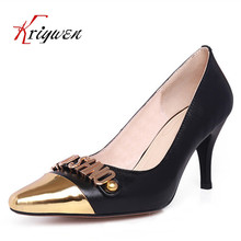 Plus size34-42new spring genuine leather Pointed toe Elegant Pumps thin High Heels black white charm office party Shoes for lady
