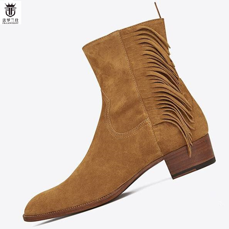 2018 FR.LANCELOT Brown Suede Tassel Men Ankle Boots Side Zipper Fringe Fashion Low Heel Trainers high top Chelsea Boots Shoes tassel tie embroidery high low blouse