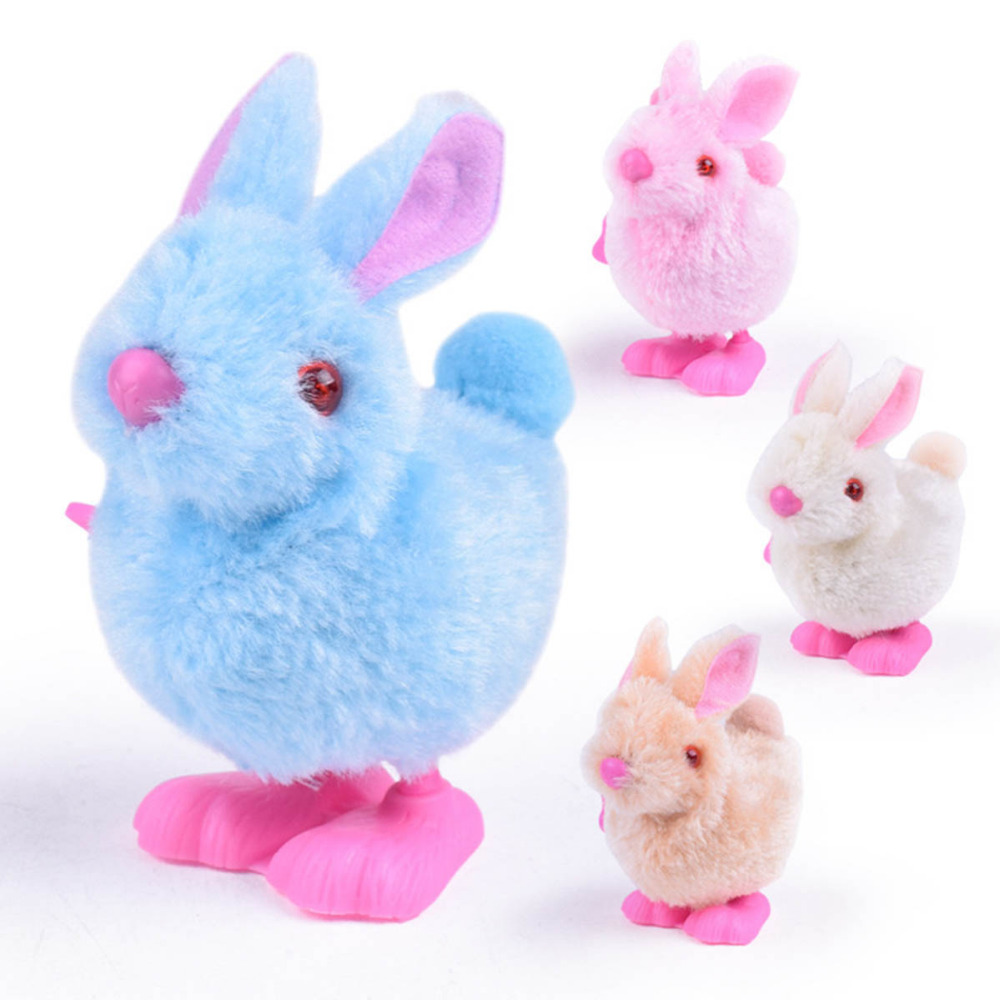Cartoon Animal Cute Baby Wind Up Toys Plush Rabbit ModelRunning Crawling for Kids Jumping Pull Back Clockwork Classic Funny Gift baby toys