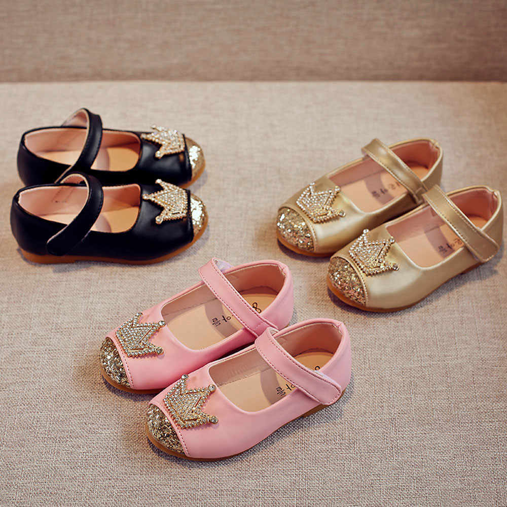 2019 Girl Shoes Fashion Toddler Kids Girls Baby Bling Princess Crown Sandals Spring Single Shoes Bordered Crystal Kids Shoes