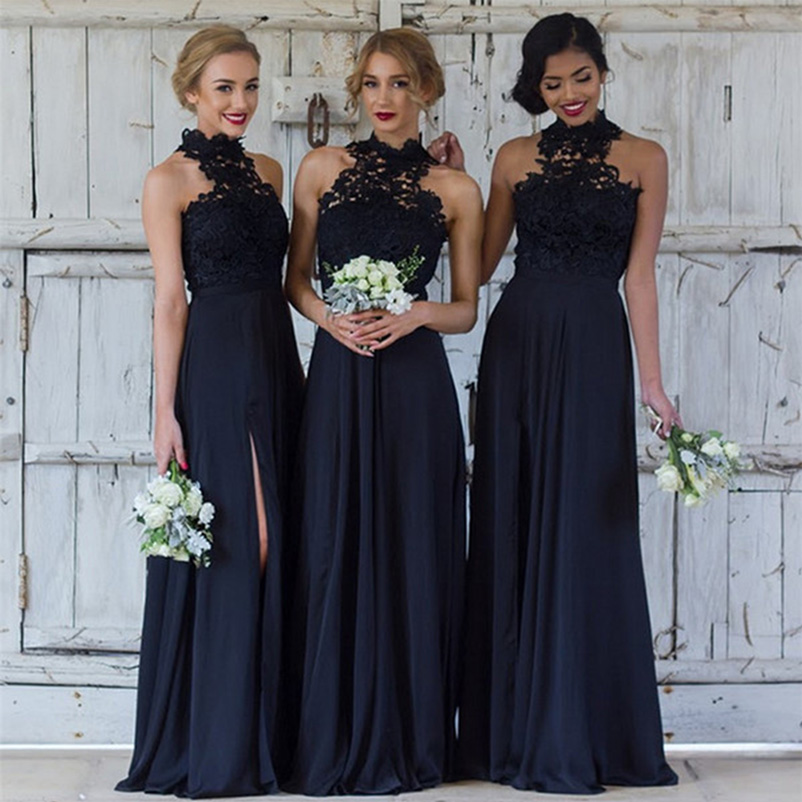 Navy Blue   Bridesmaid     Dresses   2018 Chiffon Halter Side Split A-Line Maid of Honor   Dress   High Slit Floor Length Long Vestidos Papa