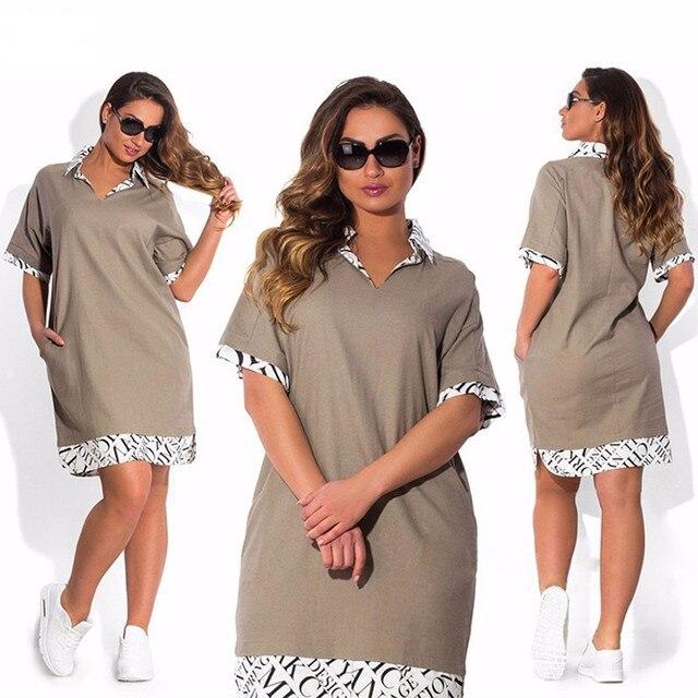 Big size 6XL 2016 Summer Women Dress Casual letter pringing dresses popular  pockets plus size women clothing 6xl Fat MM dress 896bcc98e086