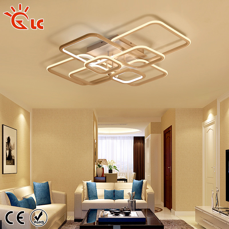 Lanchuang Modern Simple Led ceiling lights Acrylic Aluminum Ceiling Lamp living room Dimmable AC85-265V White Indoor Fixtures