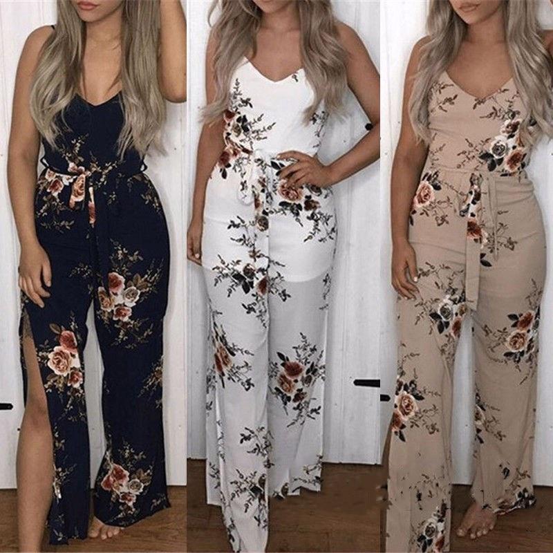 2018 USA Women Lady Clubwear Summer Casaul Elegant Sexy Side slit Floral print Bodycon   Jumpsuit   Romper Trouser holiday Beachwear