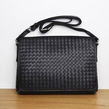 LANSPACE genuine leather bag fashion men bag famous brand crossbody bag