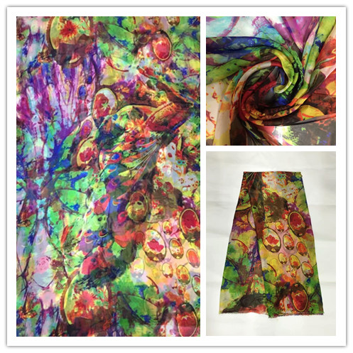 140cm New Summer Print 100%Silk Chiffon Fabric Fashion colorful leopard design print 100% silk chiffon fabric 6momme DSF21