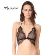Missomo Fashion Women Bras 2017 Black Lace Bra Brief Sexy Eyelash Thin Hem Patchwork Underwear Pure Color Summer Casual
