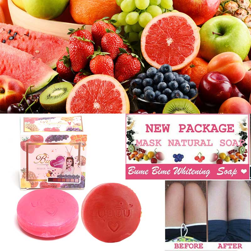 Instant Miracle Whitening Soap Thailand Bumebime Handmade Soap White Skin Natural Soaps Bath Fruit Essential Oil Soap 100g