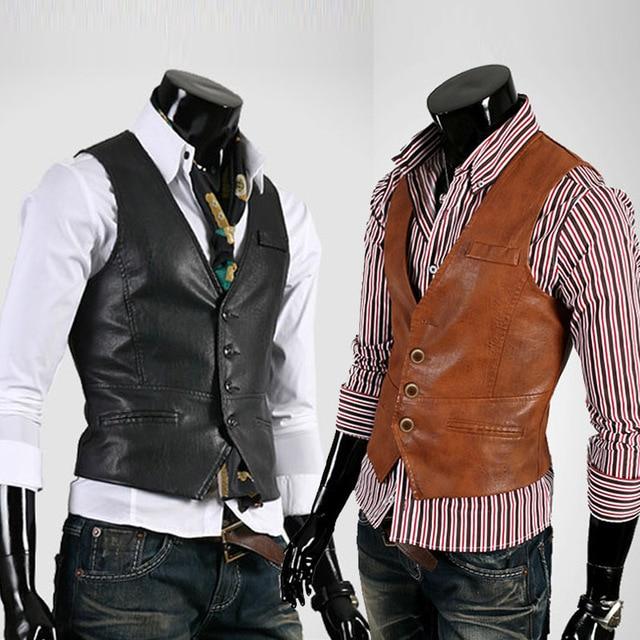 Новый 2017 мужская бутик pure color мода тонкий кожаный жилет куртки/Мужской тонкая социальный бизнес жилет куртки