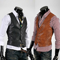 El nuevo 2017 de los hombres boutique de moda color puro chaleco de cuero delgado chaquetas/fina Masculina chaleco chaquetas de negocios sociales