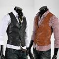 Os novos 2017 dos homens boutique pure color moda casacos colete de couro fino/fino Masculino colete jaquetas de negócios sociais