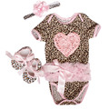 2016 Newborn Baby girl clothes sets Infant clothing Romper dress+Toddler shoes+Headband flower 3pcs/sets New Baby clothing set