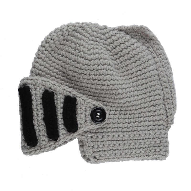 ... INDJXND Winter Funny Roman Men Beanies Knight Helmet Caps Knit Warm  Cool Women Hats Handmade 2017 73652e7b4e3