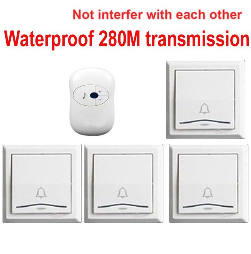 Door Ring Bell With 4 Emitters+1 Receiver Doorbell Waterproof 280m Work Wireless Doorbell,wireless Door Chime,wireless Bell