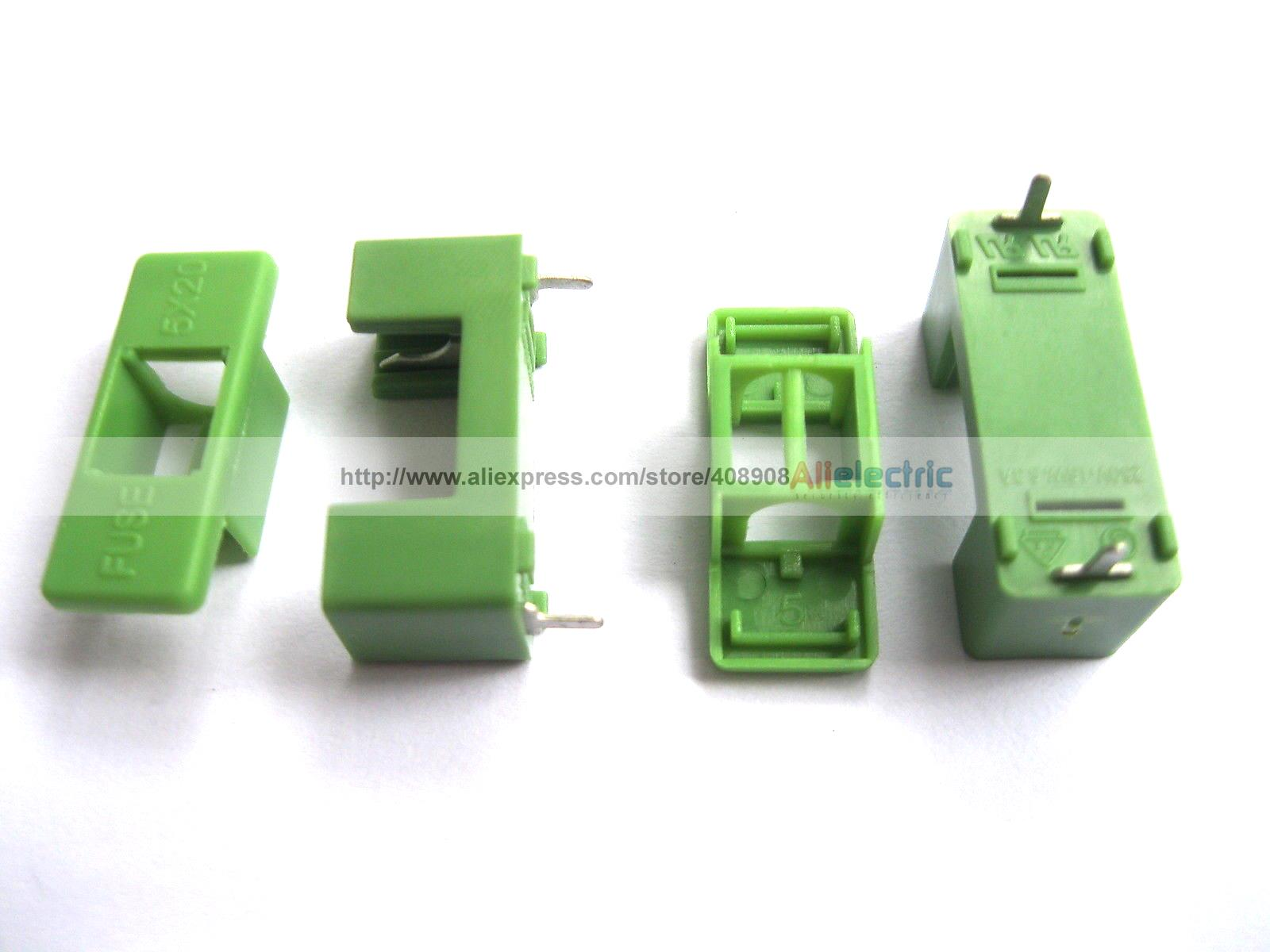 цена 100 Pcs PTF 7 DIP Fuse Holder 6 3A 250V Used for 5x20 Green Color