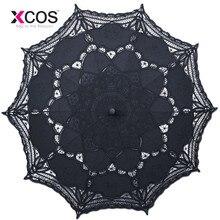 Классический Благородный Элегантный Дворцовый стиль Длинная рука Свадебный зонтик вышивка Gingham кружевной зонтик от солнца SA859