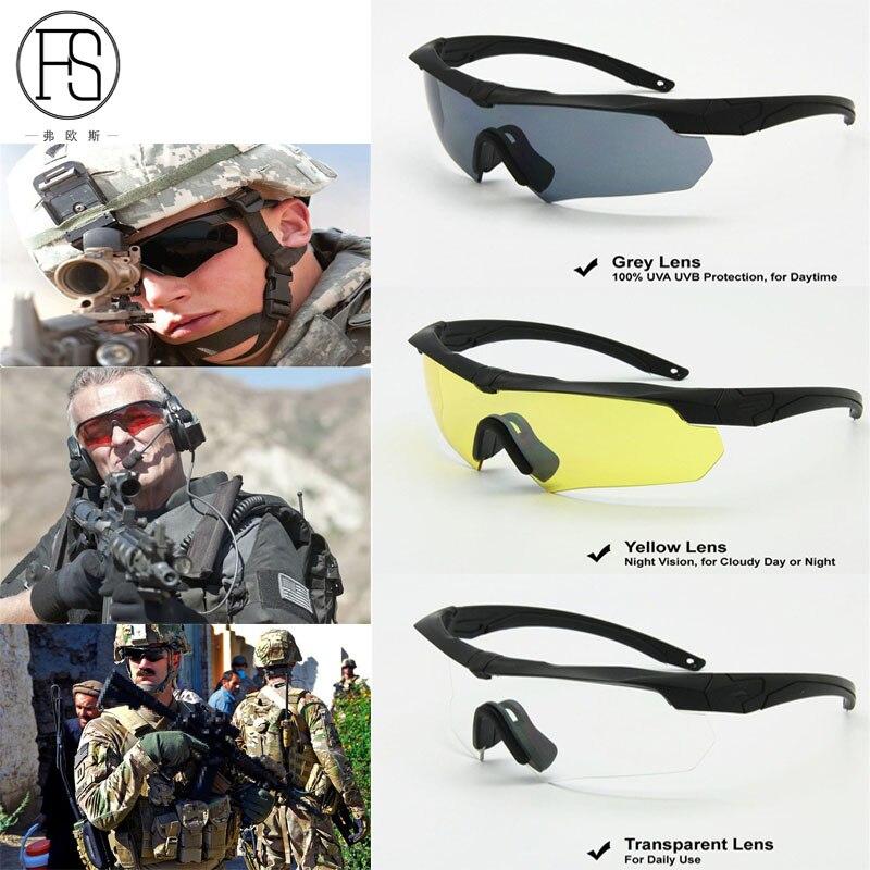 Prix pour Chaude! 2017 lunettes de Soleil Polarisées Tactique Tir Airsoft Anti-Scratch Lunettes En Plein Air Randonnée Camping Hommes Militaire Lunettes 3 lentille