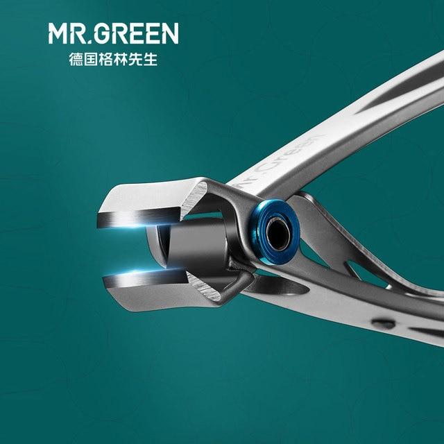 MR.GREEN مسمار كليبرز الانتهازي الفولاذ المقاوم للصدأ أدوات الأظافر مانيكير سميكة الأظافر القاطع مقص مع مبرد أظافر زجاجي
