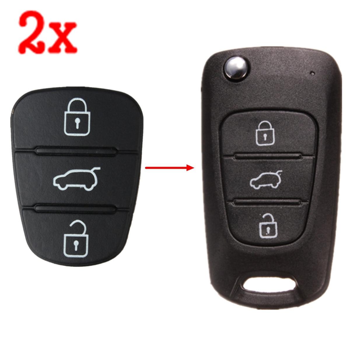 2x 3 Button Remote Key Fob Case Rubber Pad For Hyundai I10 I20 I30 Flip Key Key Shell Case for Car free shipping 2 button flip remote key case for hyundai verna 10pcs lot