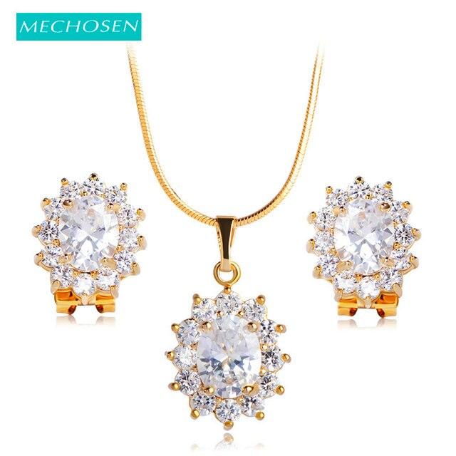 MECHOSEN Gold Color Rhinestone Dubai Jewelry Set Prong Setting Zirconia  Oval Pendant Necklace Earrings For Women bb03c264fad0