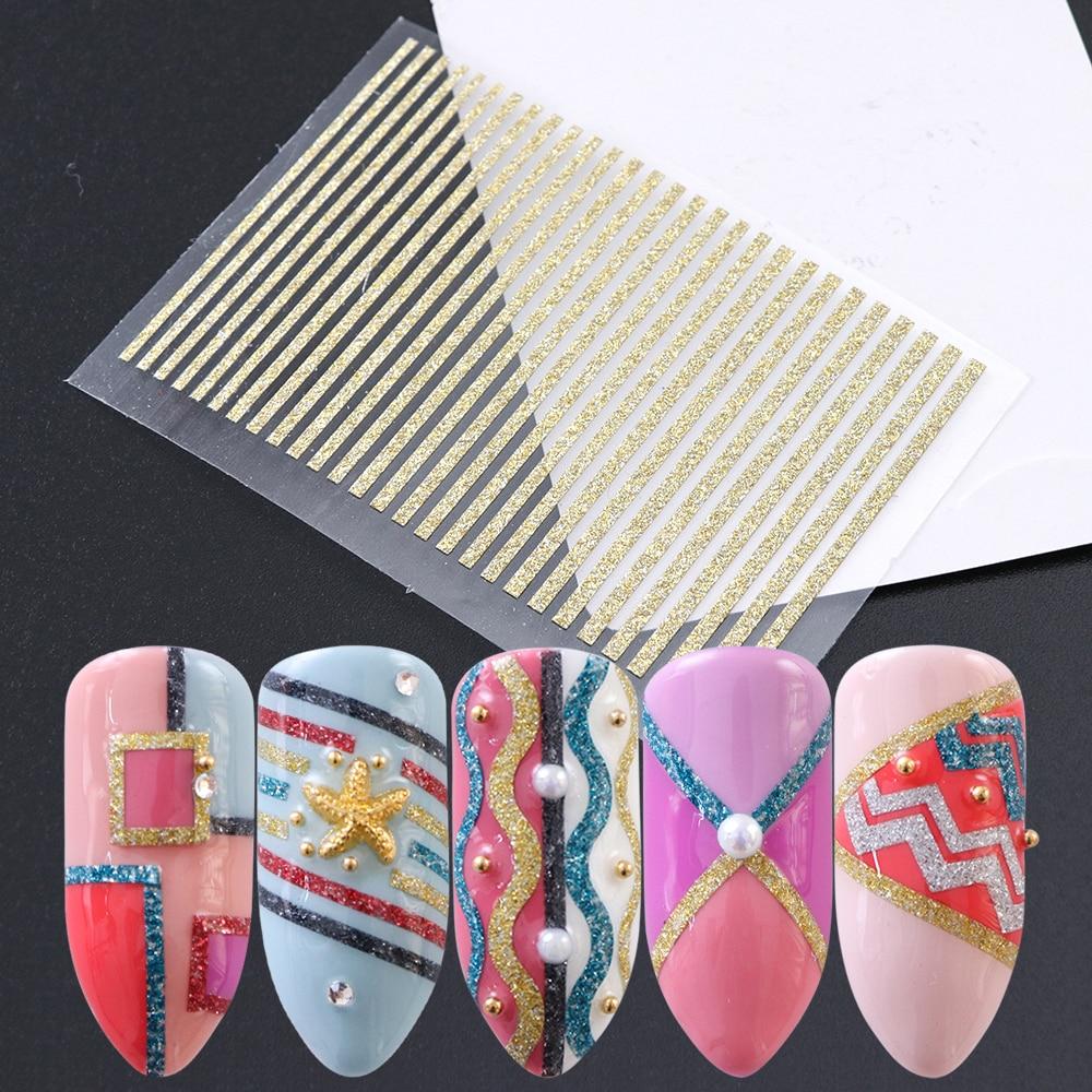 Gold Striping Tape Nail Art: 1 Sheet Nail Art Adhesive Glue Sticker Gold Sliver