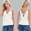 2017 Fashion T Shirt Women Summer Sleeveless T Shirt Sexy Backless Tops Loose Casual T Shirt S-XL