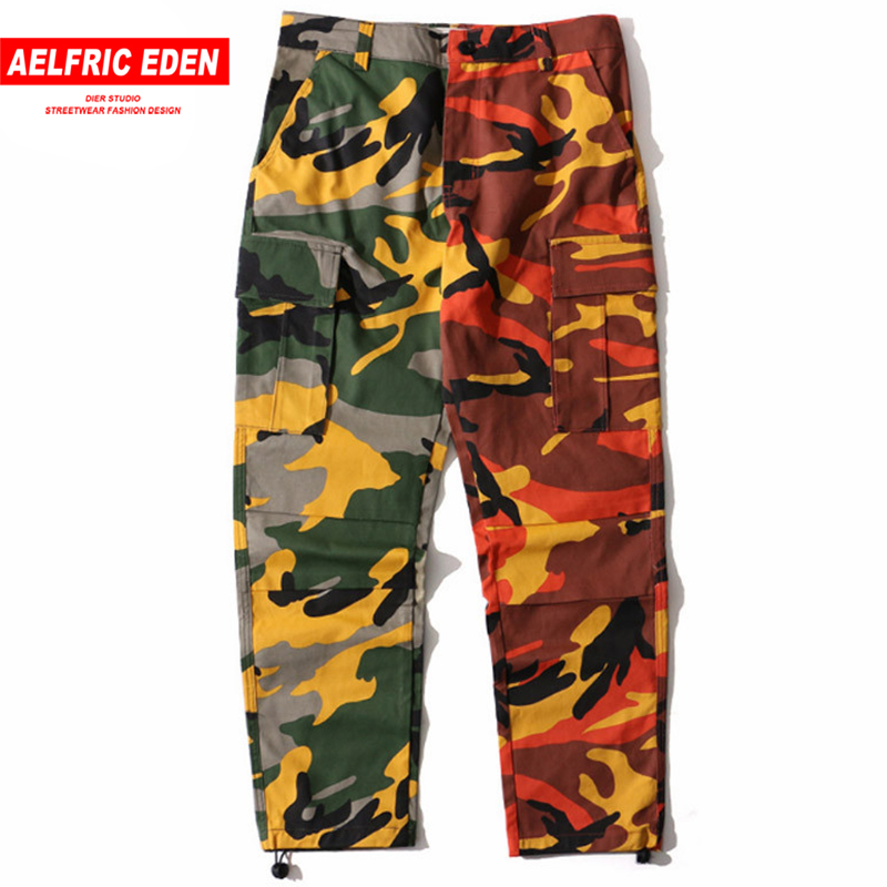 Aelfric Eden Two-tone Camouflage Men Cargo Pants Full Length Trousers Hip Hop Military Joggers Pockets Casual Streetwear St05